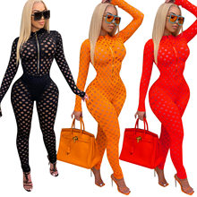 Echoine 2021 Women Sexy Hollow Out Lace Party one piece Jumpsuits Long Sleeves Zipper V Neck Stretchy Skinny Nightclub Rompers