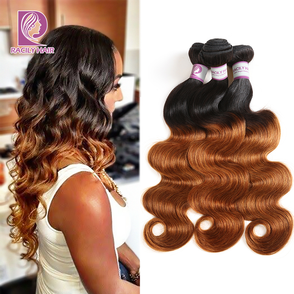 1/3/4Pcs Ombre Bundles 1B/30 Remy Body Wave Bundles Brazilian Hair Weave Bundles Colored Brown Human Hair Extensions Racily Hair