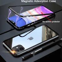 Funda de adsorción magnética de Metal para iphone 11 funda de vidrio templado trasera para iphone 11 pro max 2019 fundas nuevas funda de parachoques Coque
