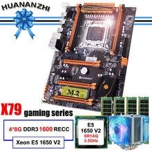 Huanzhi-carte mère de luxe X79 avec processeur slot M.2, processeur Intel Xeon E5 1650 V2 avec refroidisseur, RAM 32 go (4x8 go), REG ECC 1600, marque célèbre