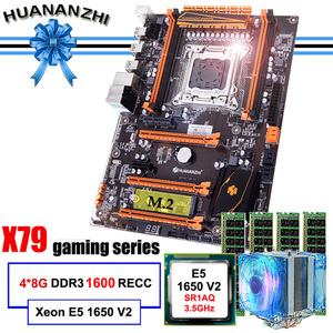 Image 1 - Ünlü marka HUANANZHI deluxe X79 anakart M.2 slot CPU Intel Xeon E5 1650 V2 soğutucu RAM 32G(4*8G) 1600 REG ECC