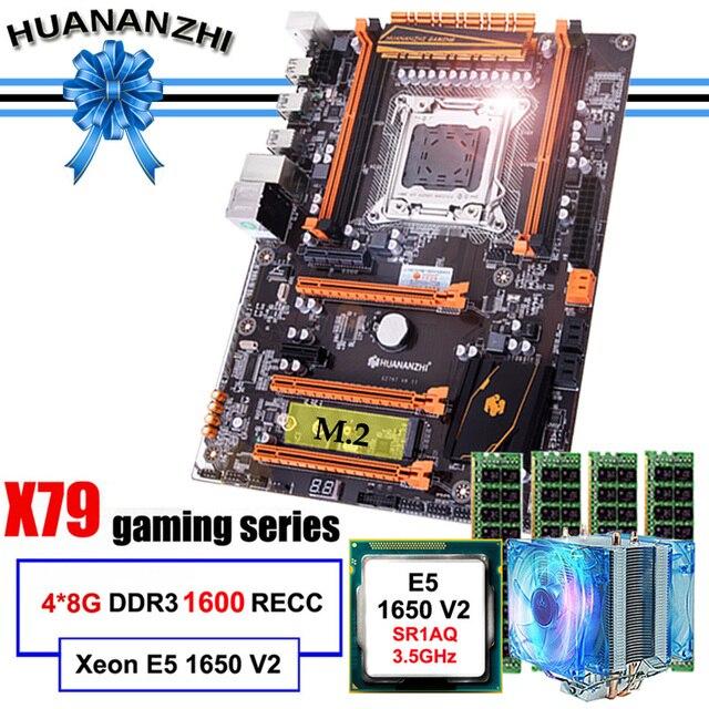 Ünlü marka HUANANZHI deluxe X79 anakart M.2 slot CPU Intel Xeon E5 1650 V2 soğutucu RAM 32G(4*8G) 1600 REG ECC