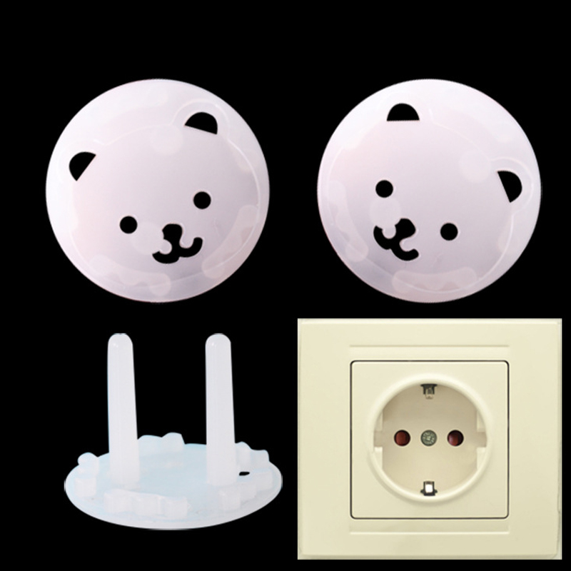 8pcs Bear EU Power Socket Electrical Outlet Baby Kids Child Safety Guard Protection Anti Electric Shock Plugs Protector Cover