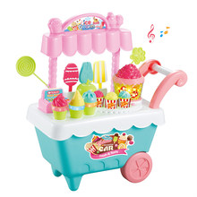 30pcs Fun Detachable Home Coins Mini Rotating Candy Cart Light Pretend Play Toys Educational Shop DIY Ice Cream Music(China)
