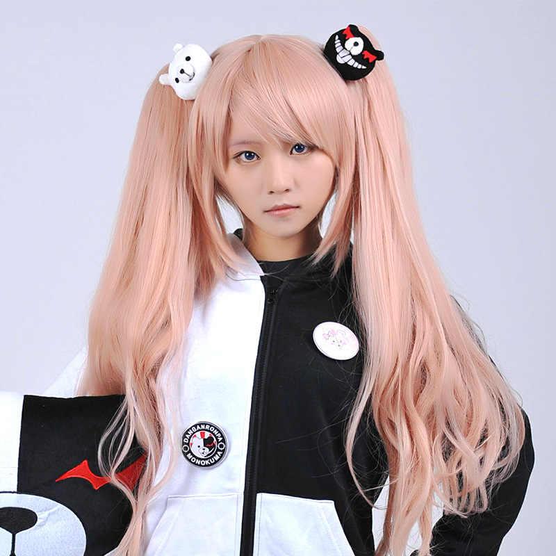Ucuz 1 çift Dangan Ronpa Danganronpa saç tokası Junko Enoshima Mono Kuma Mono beyaz siyah ayı Anime Cosplay şapkalar kız hediye
