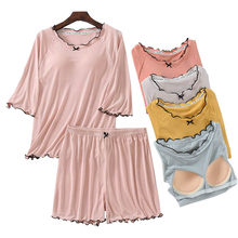 2021 Summer Women Simple Style Comfort Large Size 2Pcs Pyjamas Set Ladies Solid Soft Household Cute Ruffled Short Sleeve+Shorts