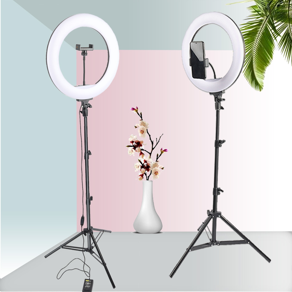 14inch/36cm Dimmable LED Ring Light Makeup Video Ring Lamp Photography With Phone Holder Tripod For Selfie Camera Youtube Shoot
