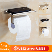 цена на Stainless Steel Toilet Paper Holder with Shelf Phones For Roll Paper Towel Rack Tissue kitchen organizer Bathroom Accessories