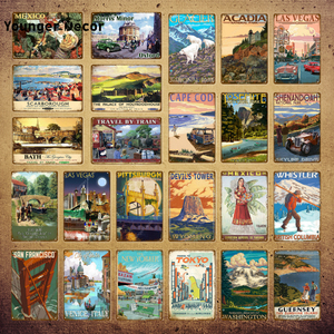Classic Tourism Travel Cities Metal Sign Mexico Tokyo Italy Poster Vintage Plaque Souvenirs Festival Gift Home Wall Decor YI-020