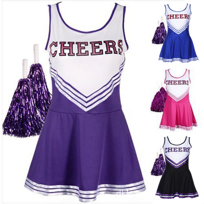 Cheerleader Fancy Dress Outfit Uniform High School Musical Costume Pom Sexy Baby Girl Stage Performance Female School Girl Music