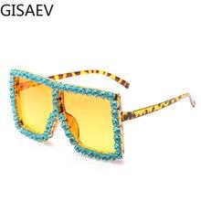 GISAEV Driving Glasses Woman Square Oversized Frame Diamonds Sunglasses Luxury Color Rhinestone  Fashion  UV400