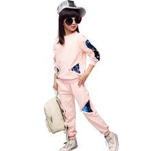 נערות בגדי ילדי בגדי סט כותנה סווטשירט + מכנסיים שני חלקים מקרית פאייטים ילדים בנות בגדי חליפת 6 8 10 12