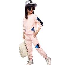 代の少女の服子供服セット綿のスウェットシャツ + パンツツーピースカジュアルスパンコールキッズガールズ服スーツ 6 8 10 12