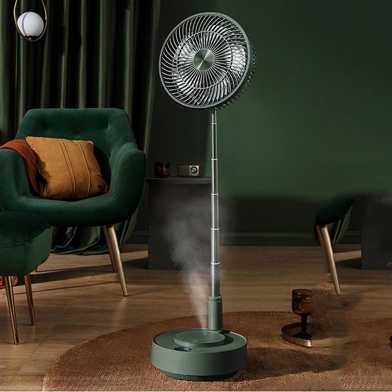 Telescopic Folding Electric Fan Recharging Floor Desktop Pedestal Humidifier Stand Fan Magnetic Remote Control For Home Office