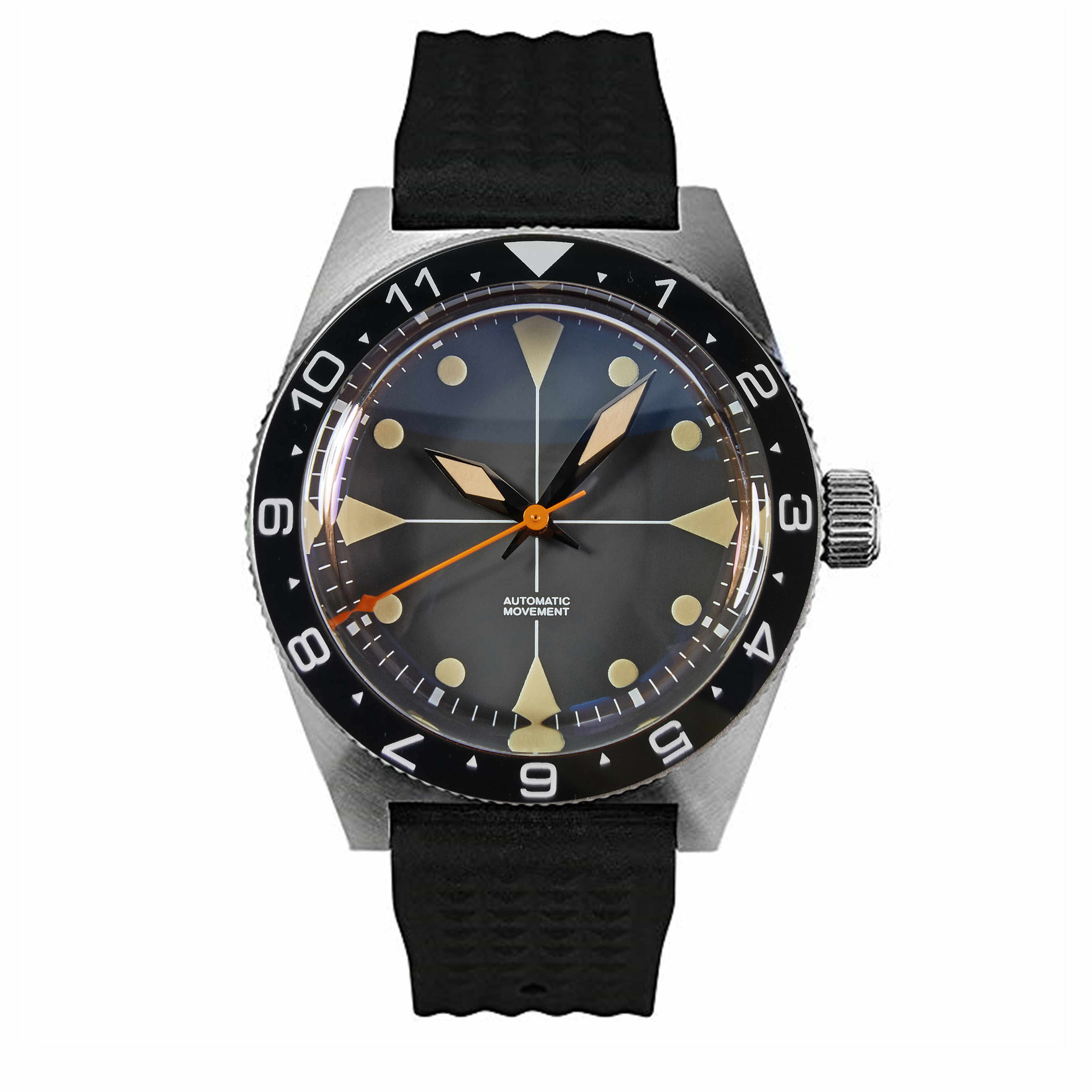 ヴィンテージ PROXIMA 40 ミリメートルブラックダイヤルセラミックベゼルドーム型クリスタル 200 メートル耐水日本 NH35 自動メンズ腕時計