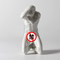 Creative Ceramics Art Naked Man Sculpture Nude Man Figure Statue Craft Home Decoration Accessories Birthday Gift R3349
