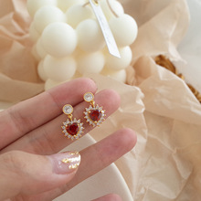 New micro-set love  sparkling romantic luxury heart fashion earrings small christmas crystal