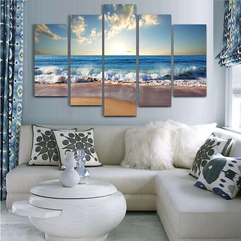 5 Beautiful Summer Beach Modern Landscape Photography Design Oil Painting HD Print Posters Artist Home Decoration Frameless