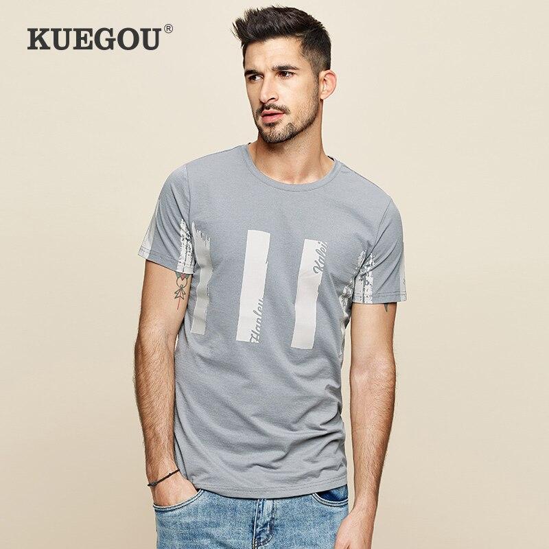 【Kuegou】men's Short Sleeve T-shirt Simple Round Collar Printed T-shirts The Fashion Leisure Summer Men's  Tshirt UT-09361