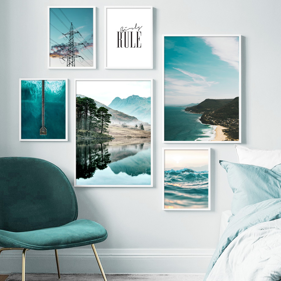 Green Lake Mountain Electric Tower Sea Wall Art Canvas Painting Nordic Posters And Prints Wall Picture For Living Room Decor|Painting & Calligraphy| - AliExpress