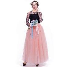 Hot Sale Explosion 7 Layer 100CM Pettiskirt Female Student Dance Party A Word Skirt Women Mesh Half Length Muslim Skirts