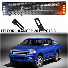 PICKUP CAR grill radiator EXTERIOR FRONT RACING GRILLE ABS GRILLS BUMPER MESH MASK TRIMS COVER FIT FOR RANGER T6 XLT 2012-2015.3