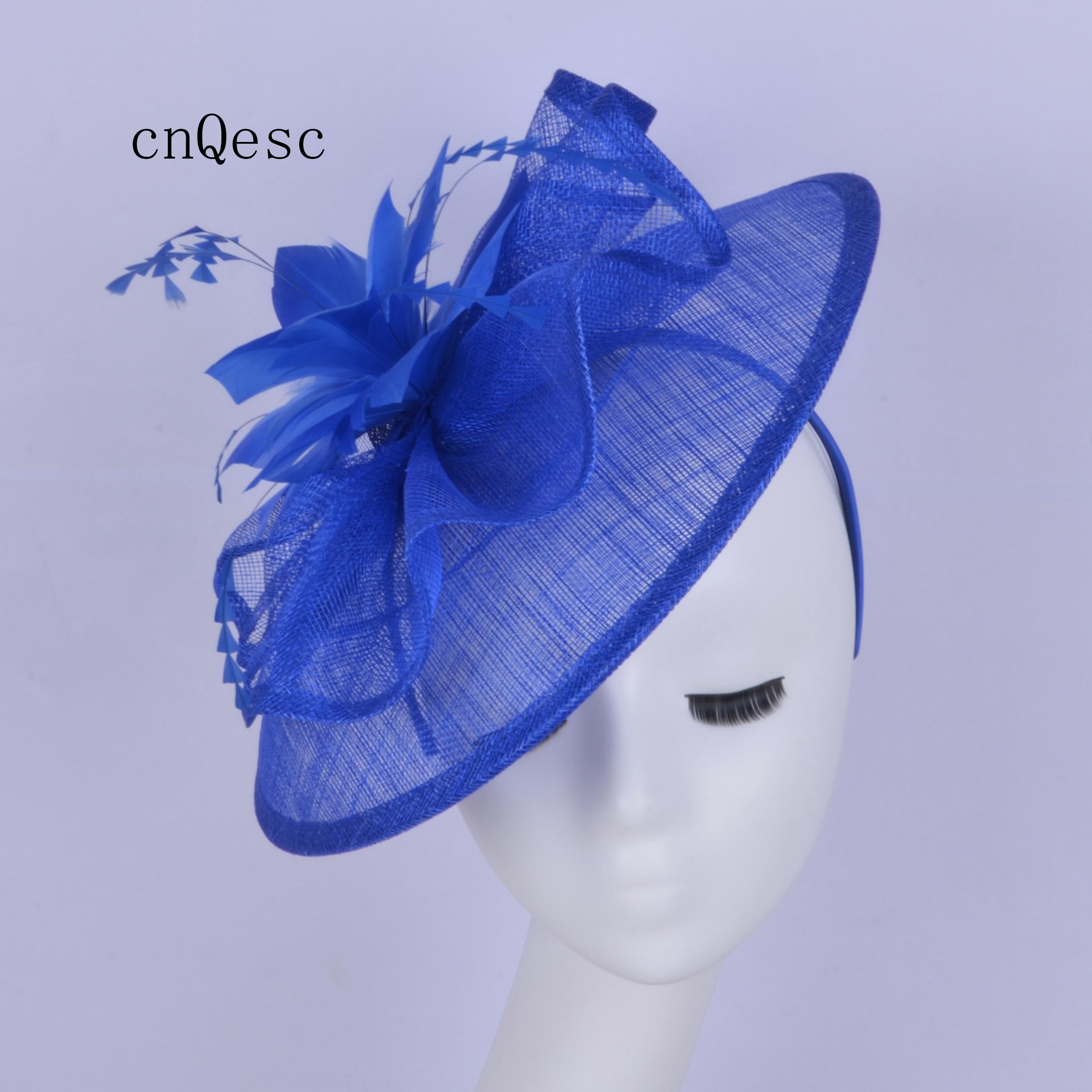 2019 grand bleu Royal dames robe formelle chapeau sinamay fascinator Kentucky Derby mariage mariée douche mère de la mariée w/feaher