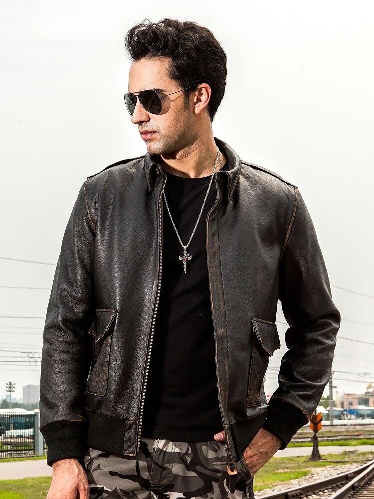 YR! Бесплатная доставка. Оптовая Продажа. Классическая Повседневная куртка из натуральной кожи в американском стиле A2. Кожаная куртка бомбер в винтажном стиле. Одежда размера плюс Кожаные куртки      АлиЭкспресс