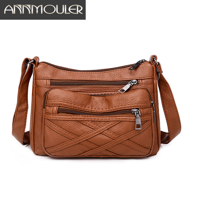 Annmouler Brand Women Shoulder Bag Pu Leather Crossbody Bag Soft Mul-pockets Messenger Bag Ladies High Quality Handbag Purse