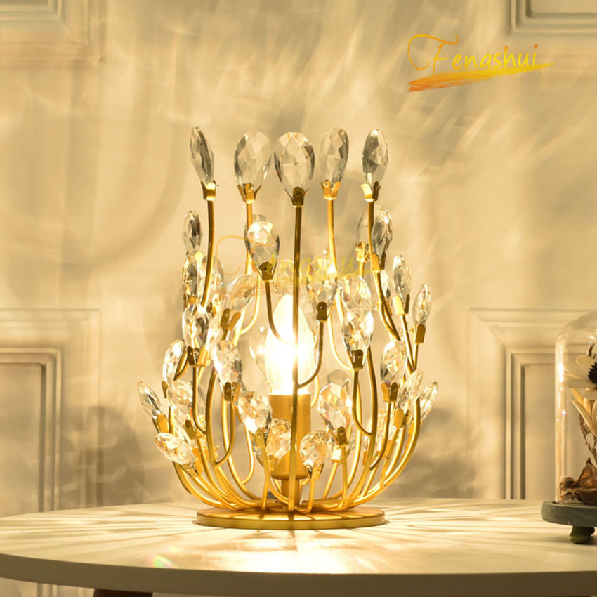 Modern LED Table Lamp Nordic Light Luxury Crystal Table Lights Creative Flower Branch Princess Room Living Room Bedroom Lamps