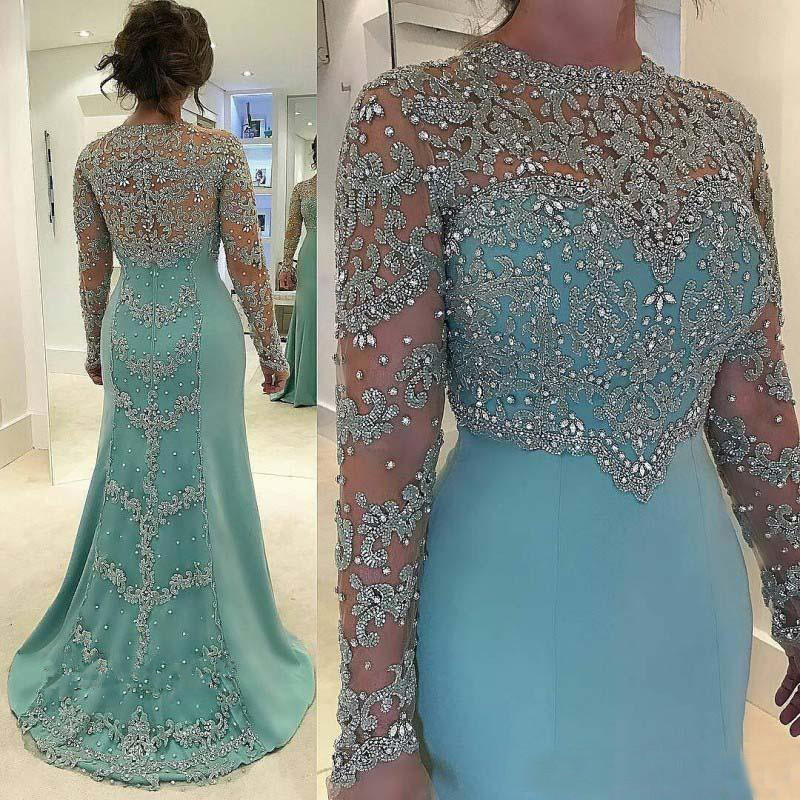 Turquoise Mother Of The Bride Dresses A-line Long Sleeves Appliques Beaded Groom Mother Dresses For Weddings