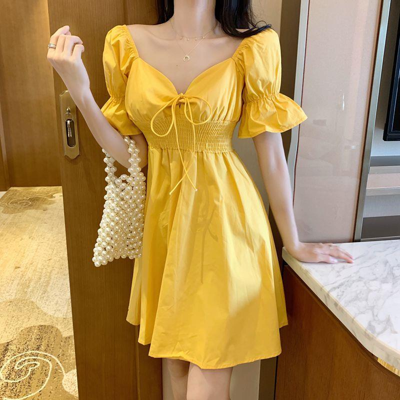 Joinyouth однотонное весенне-летнее платье для женщин с пышными рукавами, высокой талией, v-образным вырезом, сексуальное платье с коротким рука...