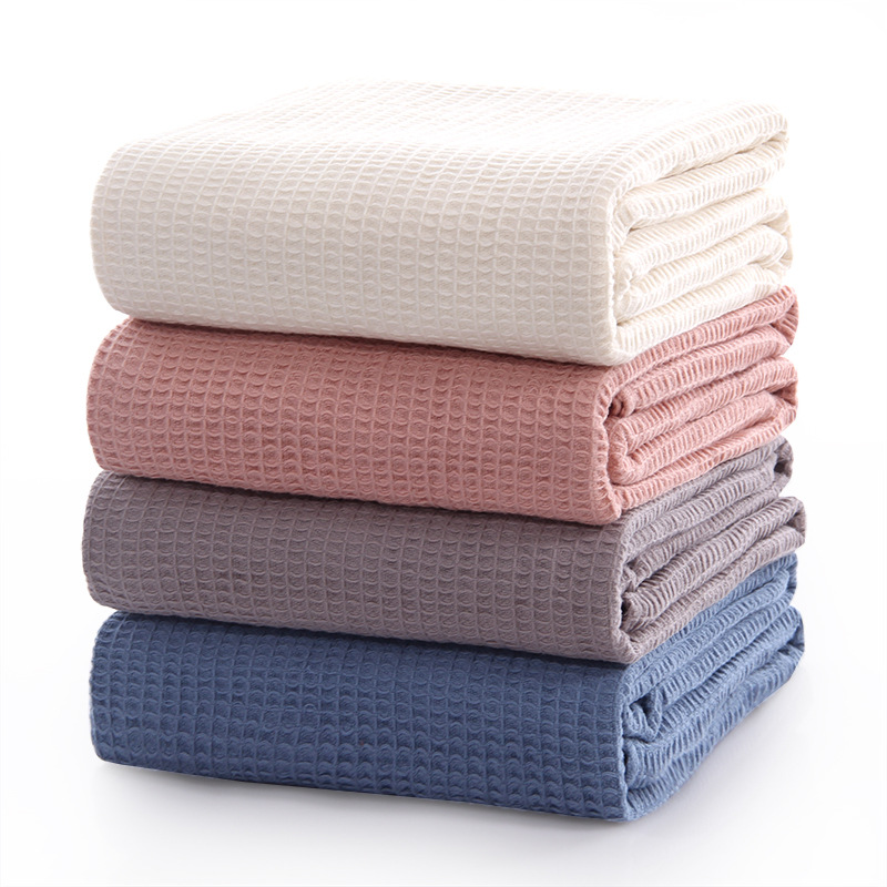 Battilo Cotton Waffle Plaid Summer Quilt for Sofa Bed Towel Quilt Women Wrap Blanket Nap Blankets Throw Blanket for Car Office image