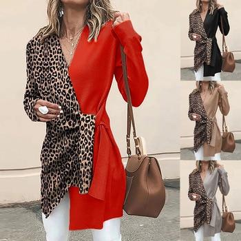 Women Long Sleeve Blazer V-neck Leopard Contrast Suit Blazers and Jackets