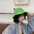 2021 Spring Cute Frog Letter Bucket Hats Women Cover Fisherman Cap Hat for Adult Women Sunscreen Summer Outing Hat Present
