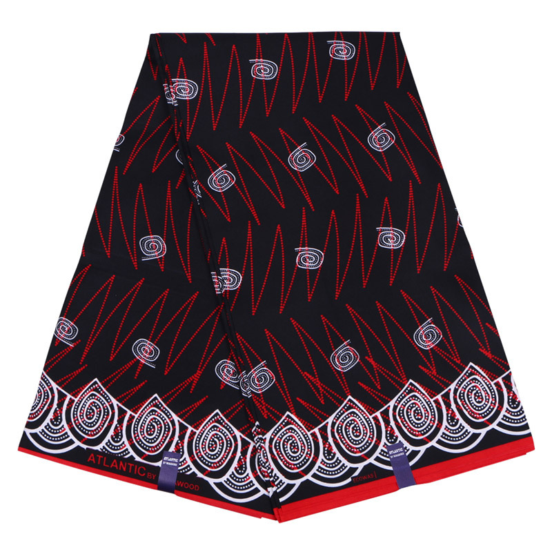 2019 New Dutch Wax Fabric Fashion Red And White Print African Veritable Ankara Guaranteed Wax Printed Black Fabric