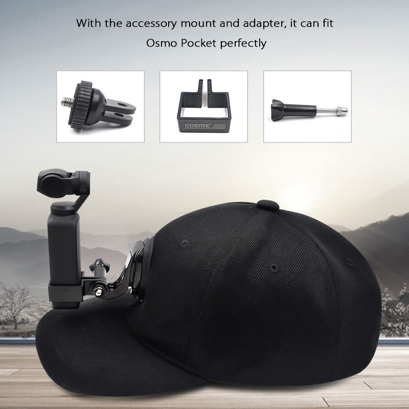For Osmo Pocket Accessories Riding Hat Mount Holder Cap For DJI OSMO Pocket Action Insta360 For Gopro 5/6/7/8 Sport Camera Black