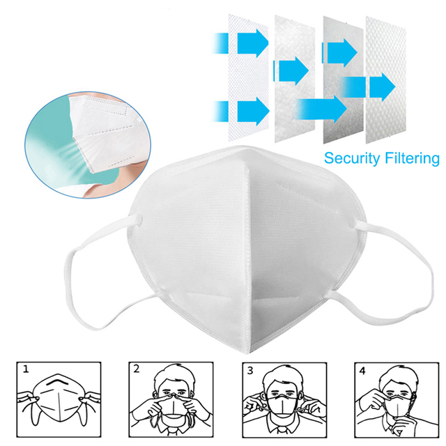 KN95 Facial Protective Face Masks Breathable 5-Ply Filtration Cotton Anti-Haze Safety Earloop Dustproof Mouth Mask Fast Shipping 1