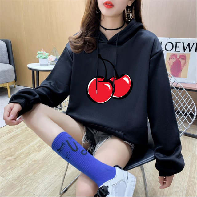 14 Colors Fleece Thick Warm Oversized Print Cherry Hoodie Women Long Sleeve Cute Kawaii Brand Sweatshirts and Hoodies Ladies 2