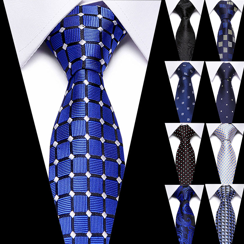 Men Formal Business Classic 100% Silk Men's Ties Neck Ties 7.5cm Plaid Striped Ties For Luxury Wedding Party Neckties Gravatas