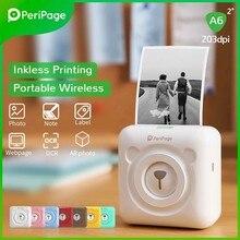 Peripage a6 mini impressora de bolso bluetooth impressora de fotos térmica suporte do telefone móvel android ios impressora de etiquetas para crianças presente
