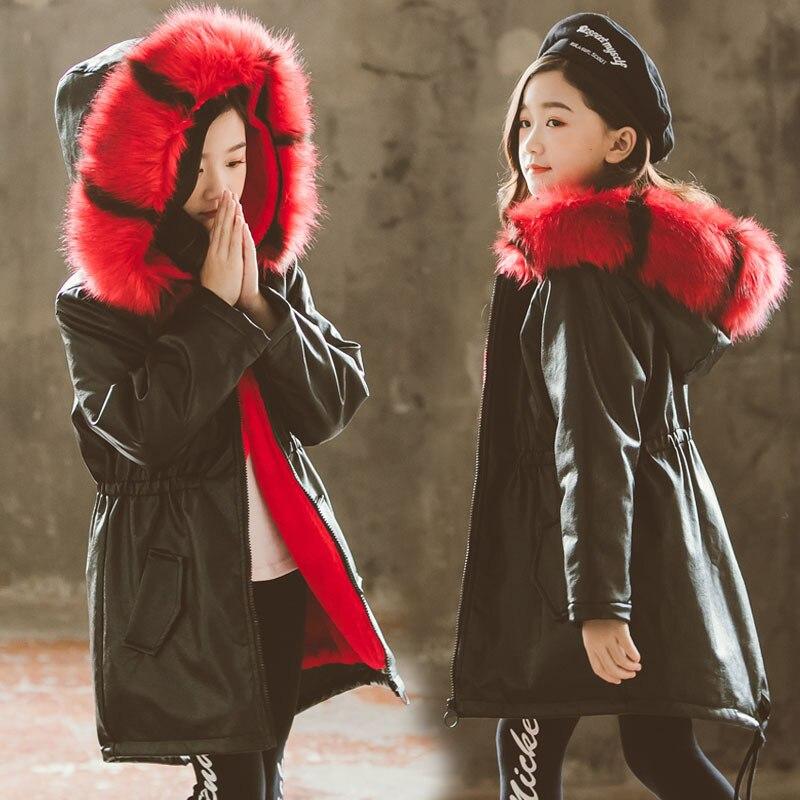 Кожаные парки для девочек стеганые куртки теплое зимнее пальто с капюшоном 2019 Новинка большой меховой воротник плюс бархатные толстые кожаные хлопковые куртки