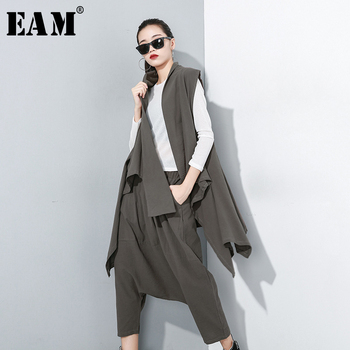 [EAM] Wide Leg Pants Three Pieces Suit New Round Neck Long Sleeve Black Loose Fit Women Fashion Tide Spring Autumn 2020 1A827