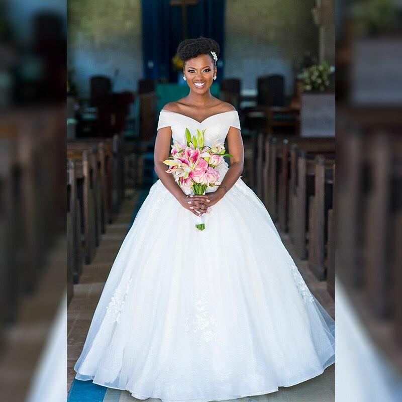 Off The Shoulder Straps Simple Bridal Wedding Dress No Train Floor Length