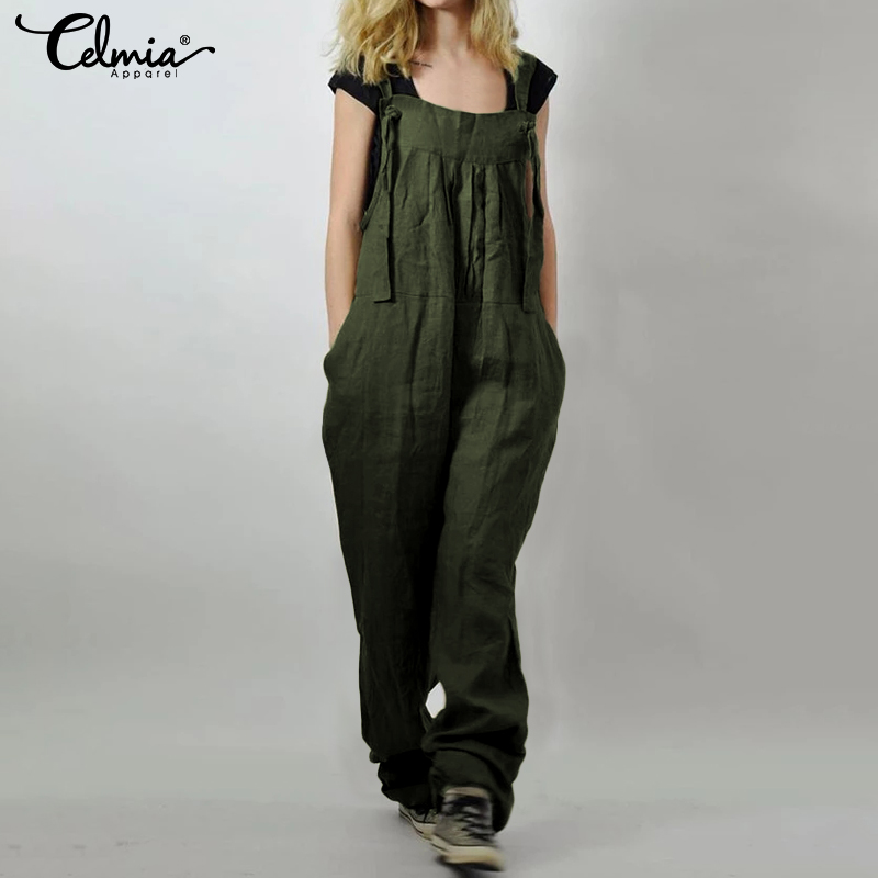 Celmia Women Jumpsuits Vintage Linen Overalls Female Harem Pants Casual Loose Pockets Strappy Playsuits Plus Size Long Pantalon