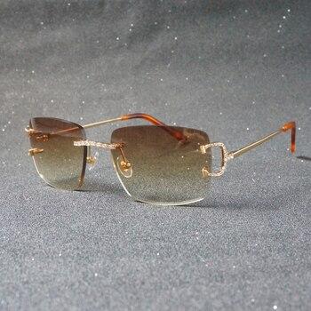 Luxury Rhinestone C Wire Rimless Oval Sunglasses Men Stone Metal Frame Square Shades for Women Summer Club Oculos Eyewear