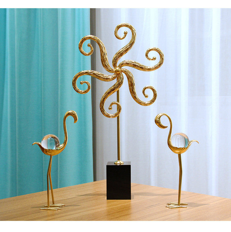 Happiness Tree Brass Figurines Black Crystal Art Sculpture Handicrafts Metal Art Craft Home Decoration Accessories Birthday Gift