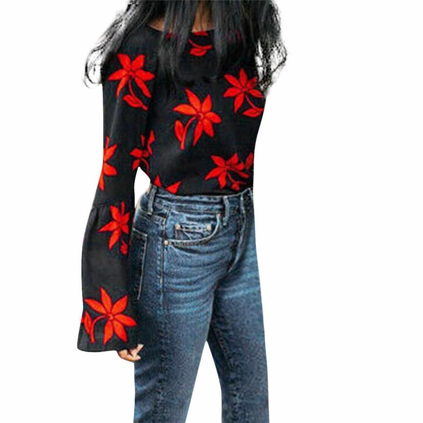 패션 여성 스웨터 꽃 인쇄 플레어 슬리브 캐주얼 블라우스 스웨터 탑 고품질 두꺼운 따뜻한 겨울 여성 스웨터