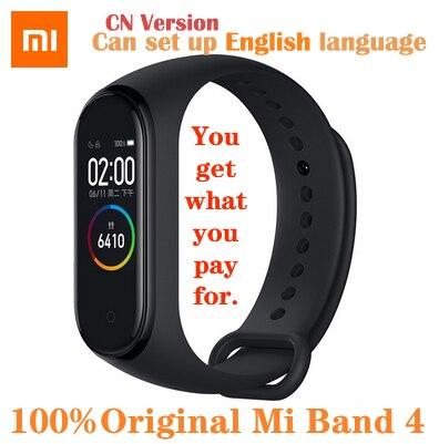 オリジナルxiaomi miバンド4スマート腕時計amoledカラー画面heartrateフィットネススポーツ50ATM防水スマートブレスレットのbluetooth 5.0