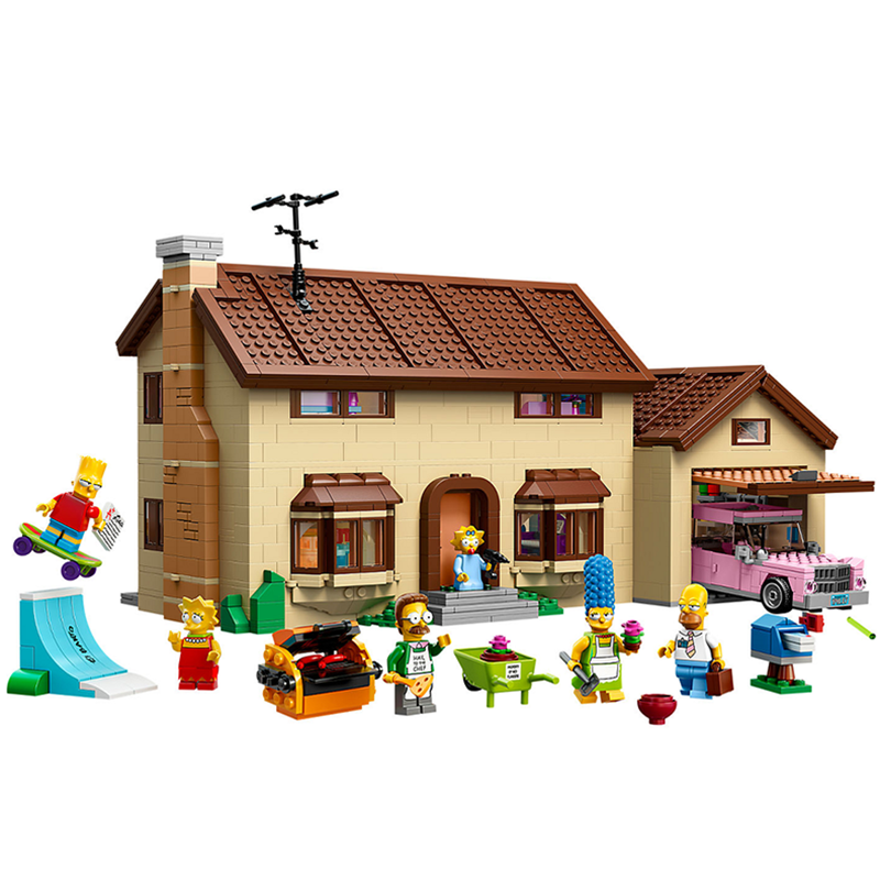 Cartoon Simpsons House Building Blocks Bricks DIY Compatible LegoingLYs 71006 Classic Architecture Birthday Toys Christmas Gift